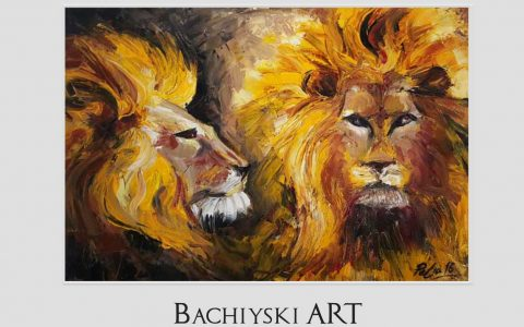 Savanna Lions- Oil on canvas