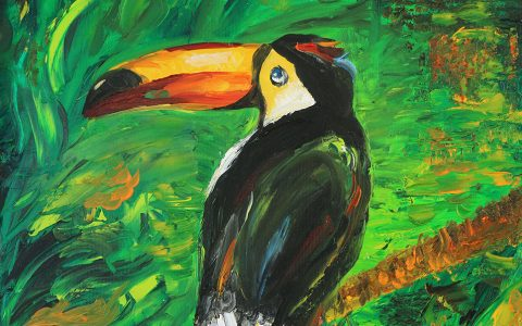 """Tucan"" Oil on board"